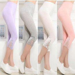 Wholesale Hot Capri Pants - Wholesale- Hot Womens Crop 3 4 Length Leggings Clothes Capri Cropped Lace Summer Modal High Quality pants