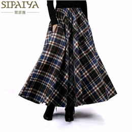 94559c7c34b Wholesale- 2017 Autumn Winter Women Skirt 50s Vintage and Wool Maxi Elastic  Waist Plaid Classical Thick Warm Saias Longa