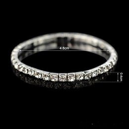 Wholesale Wholesale Cheap Rhinestone Jewelry - Hot Sale Cheap Sparkly Jewelry Bangle Bridal Accessories Romantic Stretch Rhinestones Bridal Bracelet Wedding Prom Homecoming Party Evening