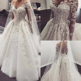 Wholesale Graceful Plus Size Wedding Dress - Graceful Lace Ball Gown Wedding Dresses With 3D Floral Applique Plus Size Wedding Gowns With Long Sleeves Bridal Dress