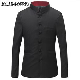Wholesale chinese red jackets - Men Red Collar Tunic Suit Jacket Mandarin Stand Collar Crows Jackets Traditional Chinese Style Uniform Jacket Single Breasted