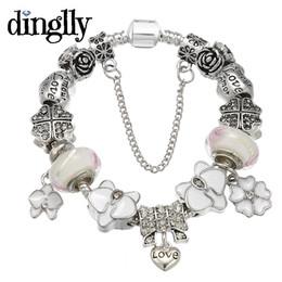 perlenorchidee Rabatt DINGLLY Romantische Orchidee Blume Charm Armband mit Glücksklee Perlen für Frauen Liebe Herz Bowknot Marke Brecelet Schmuck
