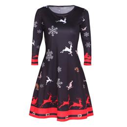 Wholesale Ladies Skater Dresses - FEITONG Female Dresses Fashion Womens Xmas Christmas Santa Skater Ladies Snowman Swing Dress Casual Plus Size New Autumn dress
