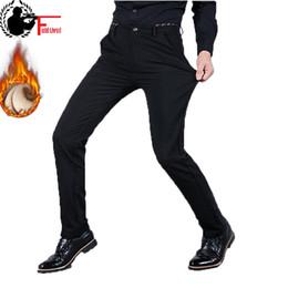 Wholesale Thick Fleece Pants Men 3xl - 2017 Winter Men Warm Casual Dress Pant Fashion Business Stretch Slim Elastic Fleece Thick Trouser Male Jogger Plus Size 42 44 46