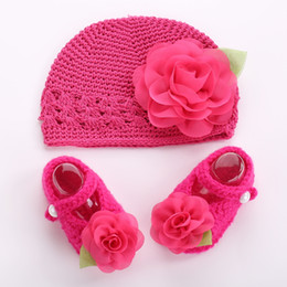 Wholesale Toddler Girl Crochet Hat Sets - Flower baby crochet photo prop girl shoes winter hat set,Crib toddler boots knitted Beanie,kids shoes for girl #2T0096 5 set lot