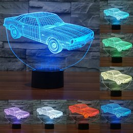 Wholesale Vintage Acrylic Lamps - 7 color Vintage Car Acrylic 3D Visual Table Lamp The Sailing Boat Illusion Atmosphere LED Desk Light as Gifts For Kid IY803442