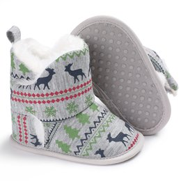 Wholesale Christmas Baby Boots Shoes - Newborn Baby Boy Girl Soft Cotton Prewalker Shoes Infant Toddler Kids Moccasin Christmas Pattern Shoes Soft Sole Boots
