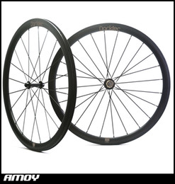 Wholesale chinese wheel bike - Free shipping 700C 25mm wide 38mm clincher carbon wheelsets with powerway R13 hub glossy or matte chinese road bicycle wheels