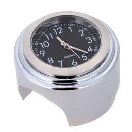 "Wholesale aluminum clocks - Universal 7 8"" Waterproof Chrome Motorcycle Handlebar Mount Quartz Clock Watch Aluminum Luminous Clock Moto Black Accessories"