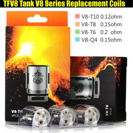 vapor rda tanque bobina Rebajas 100% calidad TFV8 bobinas V8-T10 V8-T8 V8-T6 V8-Q4 Serie RBA Core Head TFV8 nube bestia tanque vaporizador e cigs vapor RDA Atomizadores de repuesto
