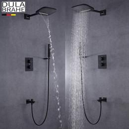 Wholesale Black Faucet Bath - DULABRAHE Blacken Bathroom Shower Faucet Set Wall Mounted Rain Brass Waterfall Shower Head All Copper Bath & Shower Mixer Tap