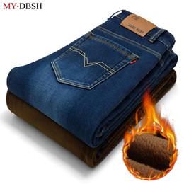 Wholesale Thick Fleece Pants Men 3xl - Winter fall Fashion Warm Thick fleece men jeans comfortable cowboy Casual trousers Mid waist middleaged jeans men business pants