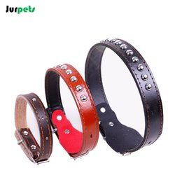 Wholesale Dog Belt Leather Collars - Genuine Leather Pet Collar Bling Rhinestone Medium Large Dogs Collars Pet Necklace Belts