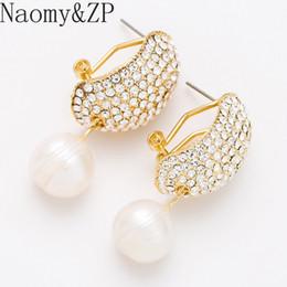 7d30f32cb5fd 2019 perlas pendientes pendientes NaomyZP Crystal Rhinestone Simulado  Pendientes de Perlas Para Las Mujeres Joyería Bijoux