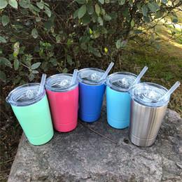 Vender taza online-La venta caliente 5 colores 12 oz vasos de vino de acero inoxidable del vaso y tazas de viaje del vehículo tazas de cerveza sin vacío de café con Strawslids DHL