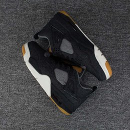 Wholesale Games Designers - Newly release Mens Basketball Shoes 4 IV LEVI Denim sail game Black Jeans Sports Shoes 4S designer Sneakers High Quality AO2571-001