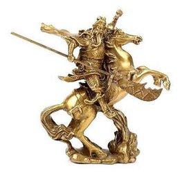 Wholesale Chinese Silk Ornaments - Chinese Ancient Hero Guan Gong Guan Yu ride on horse * bronze statue