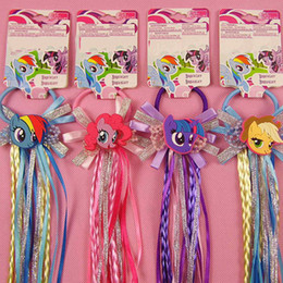 Wholesale Kids Plastic Hair Ties - Lovely Cartoon Elastic Hair Ropes with Cute Unicorn Ribbon Hair Tie Kids Girls Rubber Ties Accessories with Wig Decoration