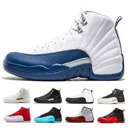 quality design 3c587 873fc air jordan retro 12 con scatola 12 International Flight uomo Scarpe da  pallacanestro Michigan College Navy Bulls bianco nero Flu Game gamma blu 12  sneakers ...