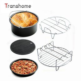 Wholesale air frying - 5Pcs Sets Household Air Frying Pan Accessories Fryer Baking Basket Pizza Plate Grill Pot Mat Bakeware Sets Kitchen Accessories
