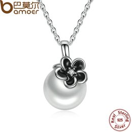 Wholesale Mystic Necklace - whole saleBAMOER 925 Sterling Silver Mystic Floral Pendant Necklace, White Pearl Necklaces & Pendants Colares Fine Jewelry PSN002