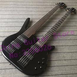 2019 fretless gitarren Custom Shop Double Neck Bassgitarre; 5 Strings Bünde Bass + 6 Strings Fretless Bass; kostenloser Versand günstig fretless gitarren