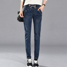 Wholesale Khaki Korean Pants - Slim Autumn Winter Casual Jeans for women High Waist Slim Denim Korean style Big pocket Size XL-5XL