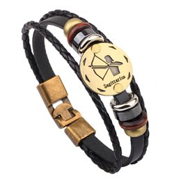 Желчные камни онлайн-2017 High Quality Fashion Bronze Alloy Buckles 12 Zodiac Bracelet Punk Leather Bracelet Wood  Black Gallstone Men Jewelry
