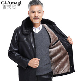 Wholesale pu leather garment - FreeShipping Hot Sale Winter Thick Leather Garment Casual flocking Leather Jacket Men's Clothing Jacket Men 4XL 5XL