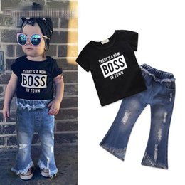 14738e70c06 Girls INS BOSS set 2018 new Children fashion t-shirt + Ripped Jeans 2  pieces set suit Baby kids clothing B001