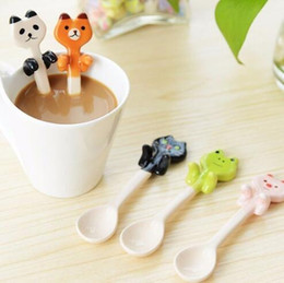 Wholesale Frog Cats - Cartoon Animal Hanging Spoon Ceramic Coffee Tea Sauce Spoon Scoop Stirring Panda Bear Frog Cat Spoon Tableware KKA4034