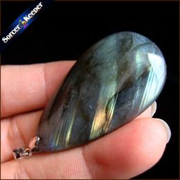 Di alta qualità big natural blue flash labradorite perline di pietra ciondoli collane all'ingrosso bijoux collana per gioielli da uomo ss206 da