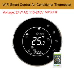2019 controlador de temperatura inteligente AC110-240V WiFi Smart controlador de temperatura del acondicionador de aire central LCD pantalla táctil de pantalla táctil 2 tubos termostato programable controlador de temperatura inteligente baratos