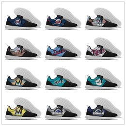 Wholesale Fl Blue - Men and women CO Rockies FL Marlins MN Twins Baseball Logo shoes Roshe style Lightweight Running shoes Size 36-46 US 11 12 Box