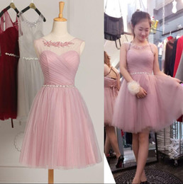Wholesale Cheap Light Up Shirts - Scoop Neck Short Bridesmaid Dresses Sheer Neck Knee Length Party Dress Lace Up Cheap Beaded Crystal Cocktail Party Wear Dresses