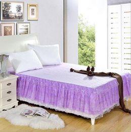 Wholesale Korean Bedspreads - purple Bed skirt Korean bedding twin full queen king size bedspread bedshirt beautiful princess style bohemian girls bed skirt