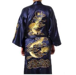 Ricamo cinese libero online-Spedizione gratuita blu navy cinese uomo raso di seta accappatoio kimono bagno abito drago taglia s m l xl xxl xxxl S0008