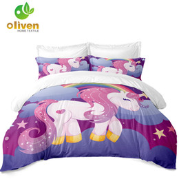 Señoras Princesa Juego de Cama Dulce Unicornio Funda Nórdica Poliéster Colorido Patchwork Ropa de Cama Funda de Almohada ropa de cama D45 desde fabricantes