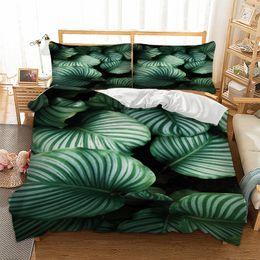 2019 3d bettwäsche gesetzt grüner könig Wong sbedding 3D grünen Blatt Bettbezug Bettwäsche Set Single Twin volle Königin King Size Polyester Bettwäsche Direktversand günstig 3d bettwäsche gesetzt grüner könig