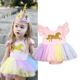 954b445a1 mamelucos de cumpleaños Rebajas Unicornio arco iris Romper niñas Mini  vestido de verano volantes sin mangas