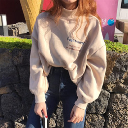 Wholesale Korean Women S Casual Wear - 2018bf Plus Velvet Thicken High-necked Letters Print Loose Slim Korean Student Wear Hoodie