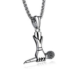 Jóias cadeias microfone on-line-Criativo Men Hip Hop Música Titanium Aço Cantor Mini Microfone Tag Pingente de Colar de Corrente de Jóias Na Moda Suporte FBA G888F Transporte da Gota