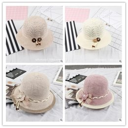 Wholesale fold straw hats - Female Summer Korean New Flower Bow Fold Visor Straw Hat Outdoor Beach Hat Accessories Seaside Sunscreen