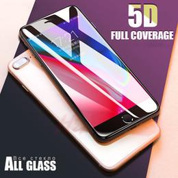 Nuevo vidrio templado borde de la cubierta completa 5D para el protector de la pantalla del iPhone 7 8 6 Plus para el iPhone 6 6s 7 más vidrio de la protección de la película desde fabricantes
