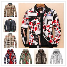9f48780d673 2018 Brand Designer Luxury Mens Jackets New Fashion Casual Printed Outerwear  Coats Plus Size Black Red Sportswear Zipper Spring Autumn