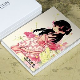 Wholesale Hanfu Clothes - 16 pcs in one,Postcard,Q version cute Chinese Han Clothing Hanfu,Christmas Postcards Greeting Birthday Message Cards 10.2x14.2cm