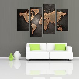 Wholesale Oil Paintings Maps - 4 Picture Abstract World Map Canvas Paintings Black Background Wall Art Pictures Print On Canvas Art For Home Modern Decoration Unframed