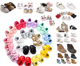 Wholesale Child Moccasins - Baby Shoes Moccasins Soft Sole Leather Infant Shoes Girls Boys Moccs Baby First Walkers Kids Children Footwear