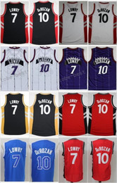 Wholesale Blue Styles - New Style Blue 10 DeMar DeRozan Jersey Men Throwback 7 Kyle Lowry Shirt Uniform Black Red White Red
