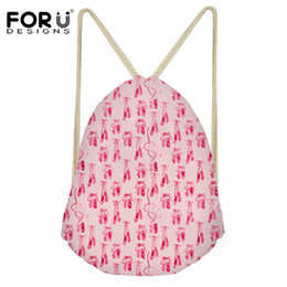 2019 bolsas de ballet para niñas FORUDESIGNS Pink Ballet Shoes Print Mujeres Bolso con cordón Casual String Backpack para niñas Travel Softback Mochilas Sack Cinch rebajas bolsas de ballet para niñas
